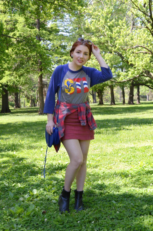 Somewhat Sporty…? | STL Baseball Tee + Miniskirt