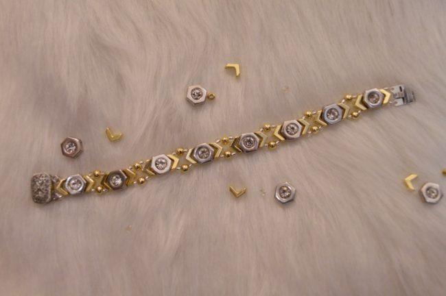 DIY Mixed Metal Hexagon and Chevron Bracelet