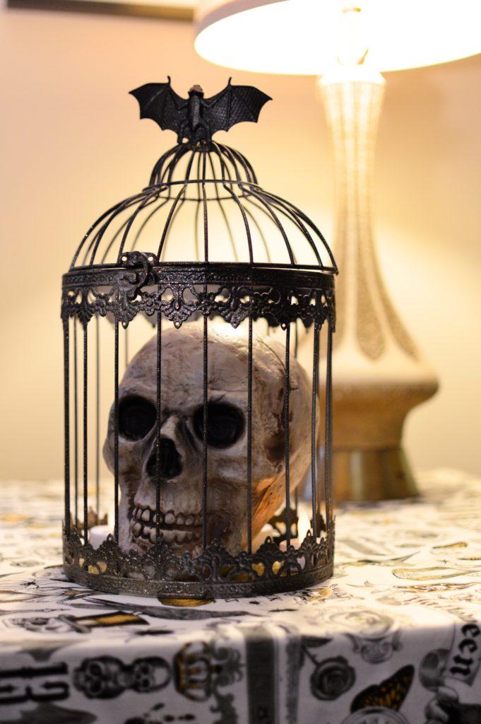 Wedding Card Birdcage into Spooky DIY Halloween Centerpiece