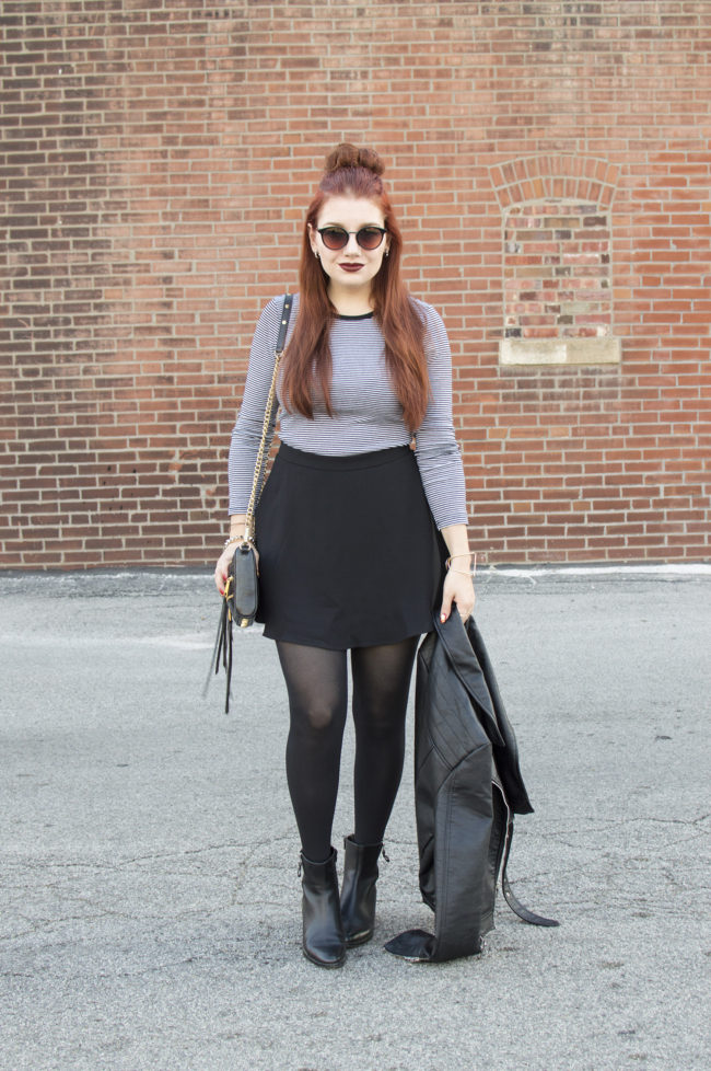 Black and White and Spooky All Over | Halloween-Inspired Autumn Outfit