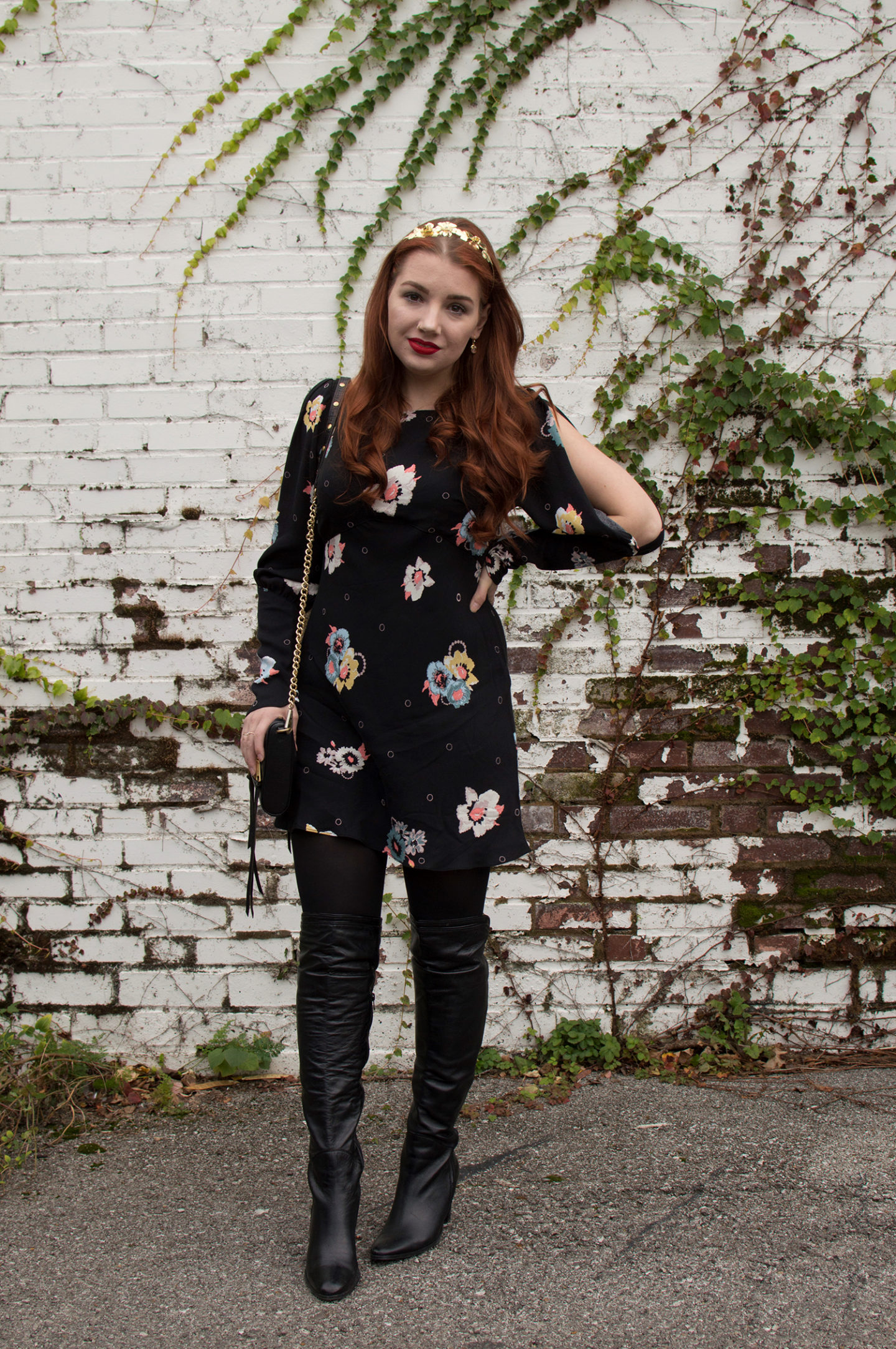Holiday Dressing: Floral Party Dress + Thigh-High Boots