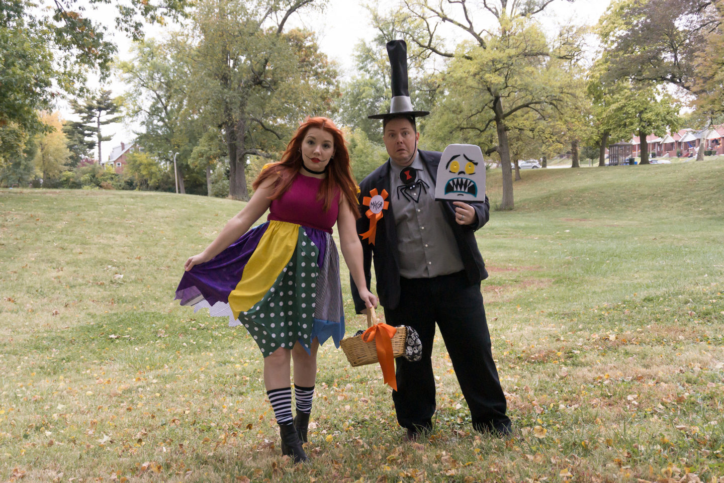 Halloween as Sally and the Mayor | Easy DIY Nightmare Before Christmas Costumes